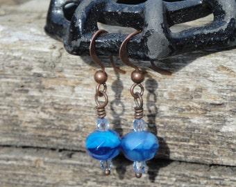 Royal blue beaded drop earrings