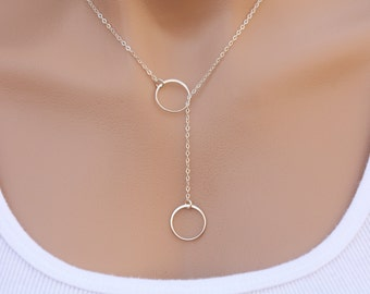Sterling silver Circle Lariat Y necklace,Karma Lariat necklace,Best friends,Bridesmaid Gifts,Circle Eternity necklace,Sisterhood,Graduation