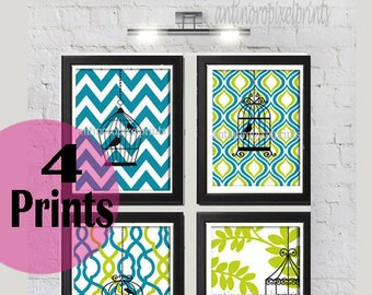 Turquoise Chartruese Bird Cage Prints Collection -Set of (4) - 8x10 Prints -   (UNFRAMED) Custom Colors and Sizes Available