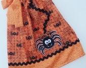 Custom Boutique Orange Spider Pillowcase dress Only  Sizes 0-6mo, 6-12mo, 12-18mo, 18-24mo, 2t, 3t, 4t, 5/6, 7/8