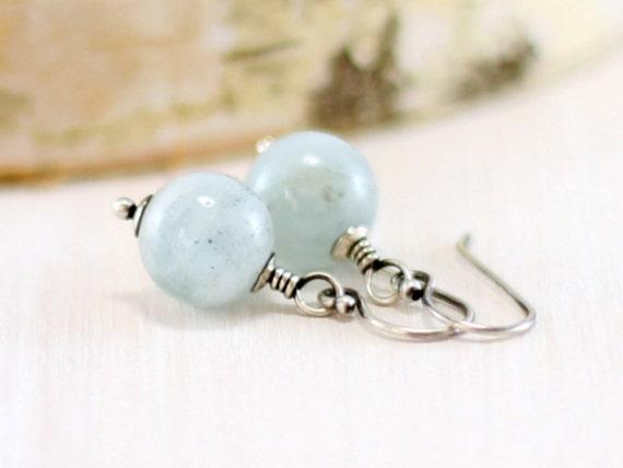 Aquamarine Earrings, Sterling Silver Sky Blue Gemstone Earrings March Birthstone Genuine Aquamarine Jewelry