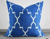 Pillow Cover - Monaco Ikat Cobalt Blue Quatrefoil Fabric - Navy and Blue on White - Pick Your Size