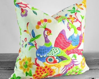 Pillow Cover - Richloom Preen Blend Fiesta Fabric -  Multicolor Peacock - SAME FABRIC both sides - Pick Your Pillow Size
