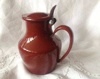 French Enamel Pitcher, Coffee Pot, Creamer, Water