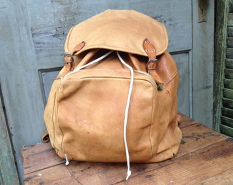 Leather Backpack Heavy Distressed Tan Brown Leather Rucksack