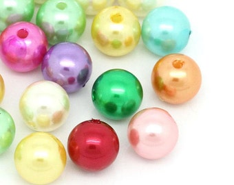 200 Imitation Pearl Spacer Beads -  Acrylic  - 10mm - Faux Pearls - Assorted Colors (27437)