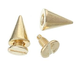 10/50 Gold Cone Rivet Stud Spike - 10mm x 7mm - Metal - Screw On - Rivets Studs Spikes 34069