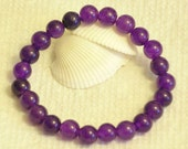 Medium Dark Purple Amethyst beaded gemstone stretch, stacking, healing bracelet for unisex, girls, boys, baby  B010
