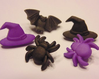 5 piece tiny Halloween button mix, 13 mm (45)