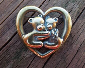 Vintage Heart Brooch.  Kissing Bears.  Jonette Jewelry, Signed JJ