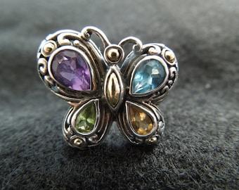 Make An Offer  Designer Ring, Samuel Benham Butterfly Ring, Silver and 18 Karat Gold, Aqua, Amethyst, Peridot and Citrine.  Size 8