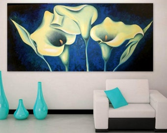Large Painting Abstract Original Oil Canvas 79 x 35 Flowers Painting - Calla Lily - Huge Painting - Blue Green - Living Room Wall Art