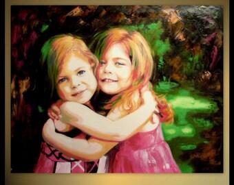 CUSTOM PORTRAIT Family Portrait Painting - Oil Painting - Unique Gift Custom Twins Portrait Painting Child Portrait From Photo on canvas