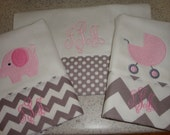 Chevron Grey and Pink Burp Cloth Set of 3