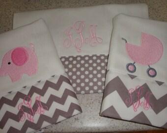Chevron Grey and Pink Burp Cloth Set of 3