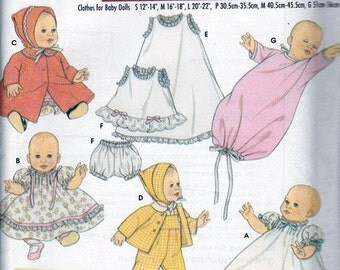 Doll Clothes Patterns - Baby Doll Clothes in 3 Sizes - Simplicity Archives Baby Doll 5215 - Designed by Teri