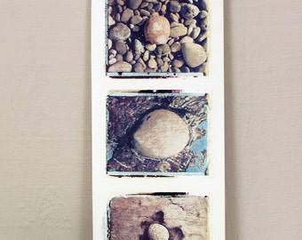 Beach Rocks.  Vancouver Island, British Columbia.  Polaroid Image Transfers Printed on Fired Clay.
