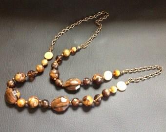 Vintage Goldtone Tiger's Eye Beaded Necklace