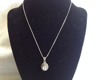 Vintage Sterling Silver Necklace with CZ