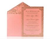 Custom Luxury Invitations- Cutom DieCut Wedding Invitations  -  Metallic Invitations - SAMPLE ONLY