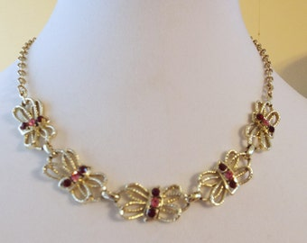 Rhinestone Pink and Red Gold Plated Necklace