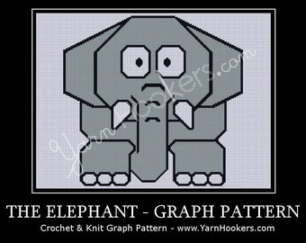 Grey Elephant - Afghan Crochet Graph Pattern Chart - Instant Download