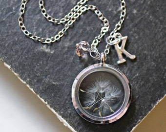 Dandelion Necklace, Wish Necklace, New Mom Gift, Dandelion Seed Necklace, Personalized Necklace, Glass Pendant, Floating Locket Necklace