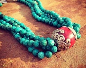 Turquoise with Tibetan Sterling Silver Beaded Statement Necklace