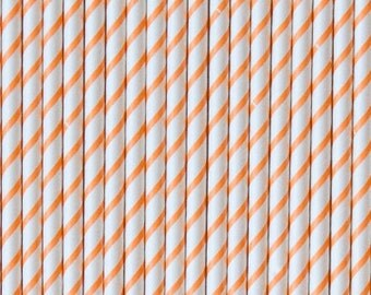 Orange THIN Striped Paper Straws