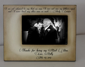 Wedding Dad Best Man Gift Distressed Vintage Picture 4x6 Thank you Parent Photo Frame - Personalized Gift - Keepsake 5x7