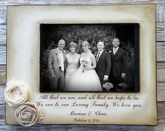 Wedding Gift Frame, Parents of the Bride, Parents of the Groom,Rustic, Personalized wedding gift, Custom, Distressed Vintage Picture,