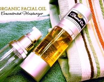 Organic Facial Serum - Facial Oil Moisturizer - Chamomile - Rosehip - Carrot Seed - Calendula - Rose - Argan - Facial Serum - 1oz.