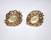 Womens Fifth Avenue Collection, Butler, Signed, Vintage Golden Earrings, Mother of Pearl,