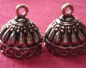 Bronze plated  small jhumkas or Indian hanging earring bases x 2, 14mm, free combined shipping