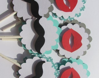 Cupcake Toppers, Set of 12,  Lips and Mustaches baby shower decorations