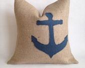 Blue Burlap Anchor and Natural Burlap Nautical Pillow Cover