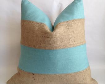 Horizontal Village Blue Linen/Cotton Fabric and Burlap Pillow Cover