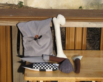 Plush Archaeology Tool Kit with Grey Bag