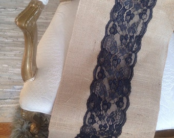 "French, Black, Lace, Scalloped Burlap Table Runners 12""x108"" Weddings, bridal, baby showers."