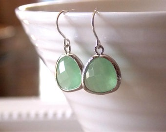Mint Sterling Silver or Gold Filled Crystal Earrings. Bridesmaids sets, gold filled, summer jewelry, spring weddings, everyday