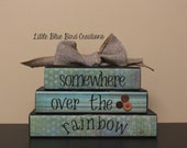 Somewhere over the rainbow - stacked wood block set - wizard of oz -  theme -  home decor - christmas gift