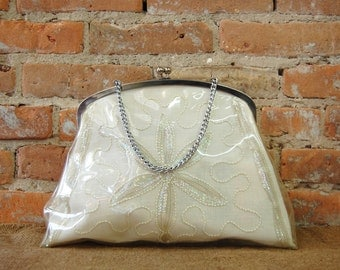 Clear Vinyl Overlay Beaded Embroidered Handbag