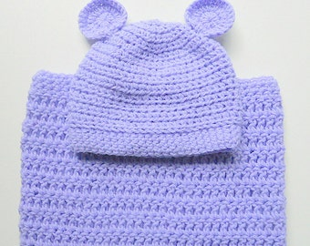 Lavender Baby Cocoon And Hat With Ears Newborn Boy Pastel Purple Snuggle Sack With Cap Infant Girl Lilac Bunting And Beanie Ready To Ship