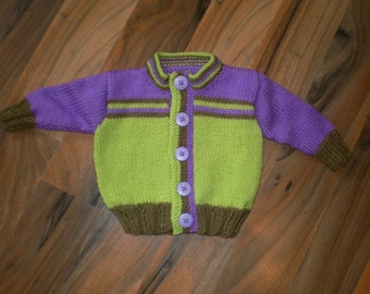 hand knitted baby cardigan / hand knit sweater /  baby boy cardigan / green, purple, brown / 0-3 month sweater