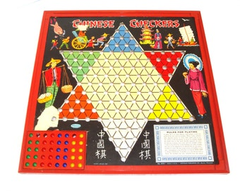 Vintage Chinese Checkers Game - Vintage Chinese Checkers - Board Game - Vintage Checker Game - Marble Checkers - Checkers Game