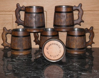 7 Wooden Beer mugs with your names, 0,65 l (22oz) , natural wood, stainless steel inside,groomsmen gift, n06