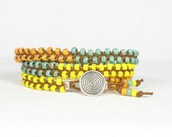 Wrap bracelet, Braided bracelet, Summer beach bracelet, CarolMade Bw16