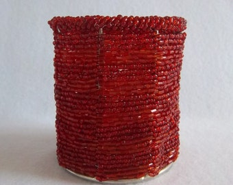 Red Seed Bead Candle Holder