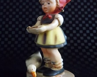RARE Animated Hummel Goebel Inspired Girl with Goose Eating a Pie with Arms that Move! Antique Be Patient or Feeding the Ducks Figurine