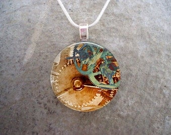 Steampunk Necklace - Glass Pendant Jewelry - Steampunk 2-13